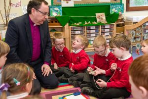 Bishop Philip chats with some of the Ladock School pupils.