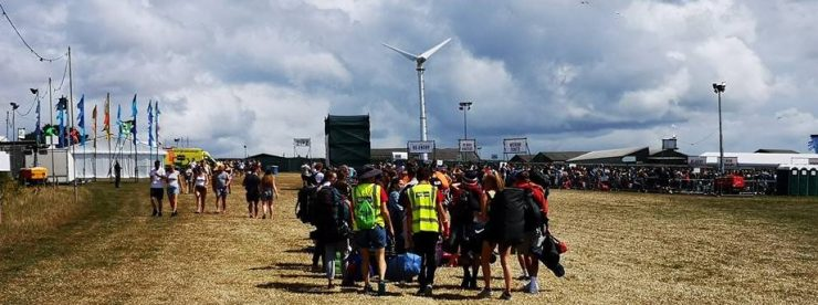 Carrying bags at Boardmasters