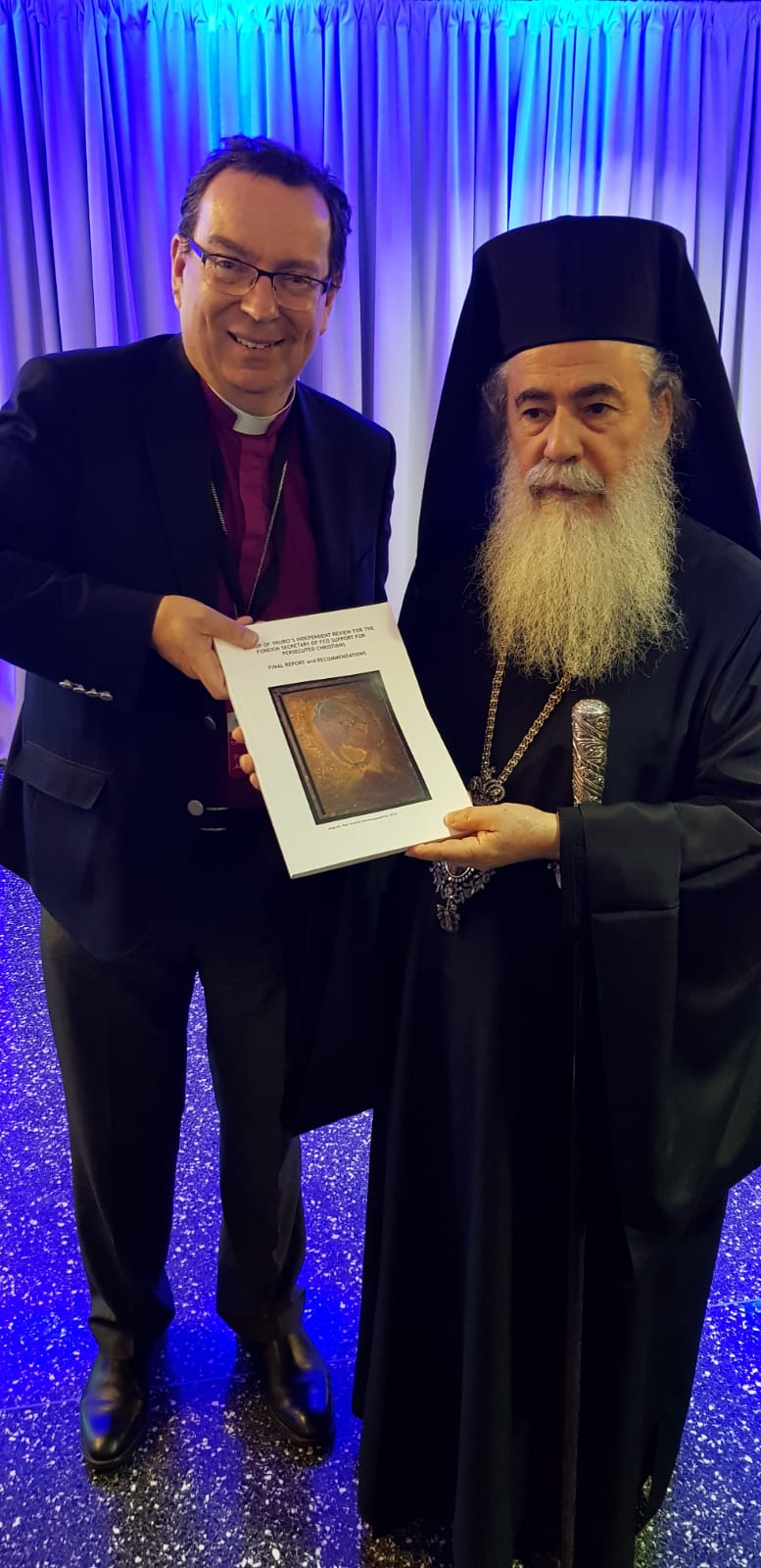 Bishop Philip Mounstephen with the Patriarch of Jerusalem.