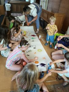 Children painting on floor