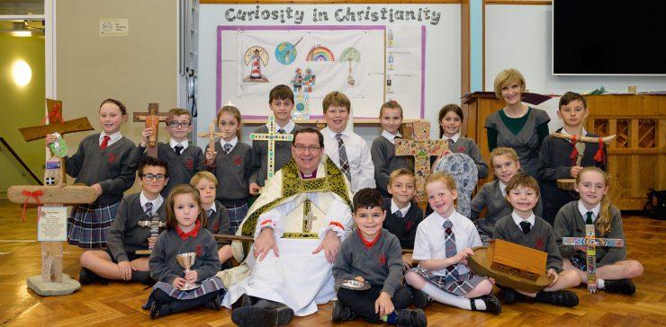 Bishop Philip with children from Archbishop Benson School