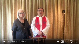 Photograph of Bishop Philip and Ruth Mounstephen from the Good Friday worship video.